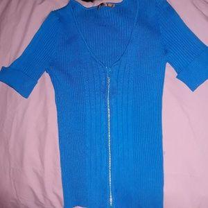 Short sleeve zip up Sweater